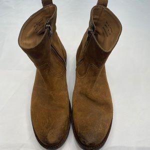 Frye Zip Up Suede Boots - 8.5 - Brown